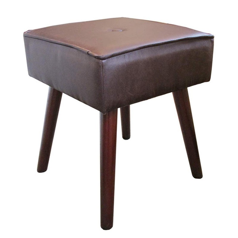 Design Guild 1230222-DBR Robin Square Ottoman Stool with Wooden Legs - Dark Brown