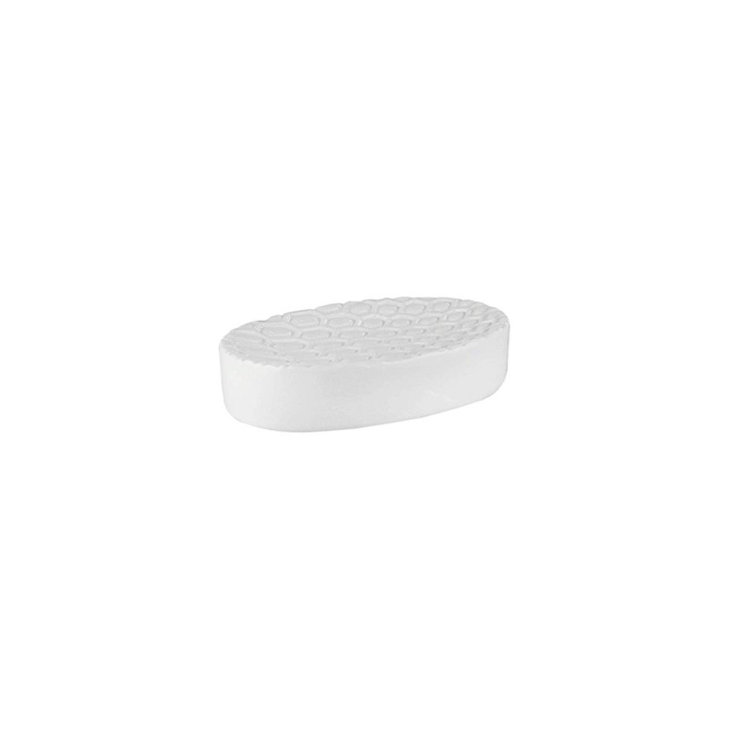 Elle Collection 1184585 Embossed White Ceramic Soap Dish