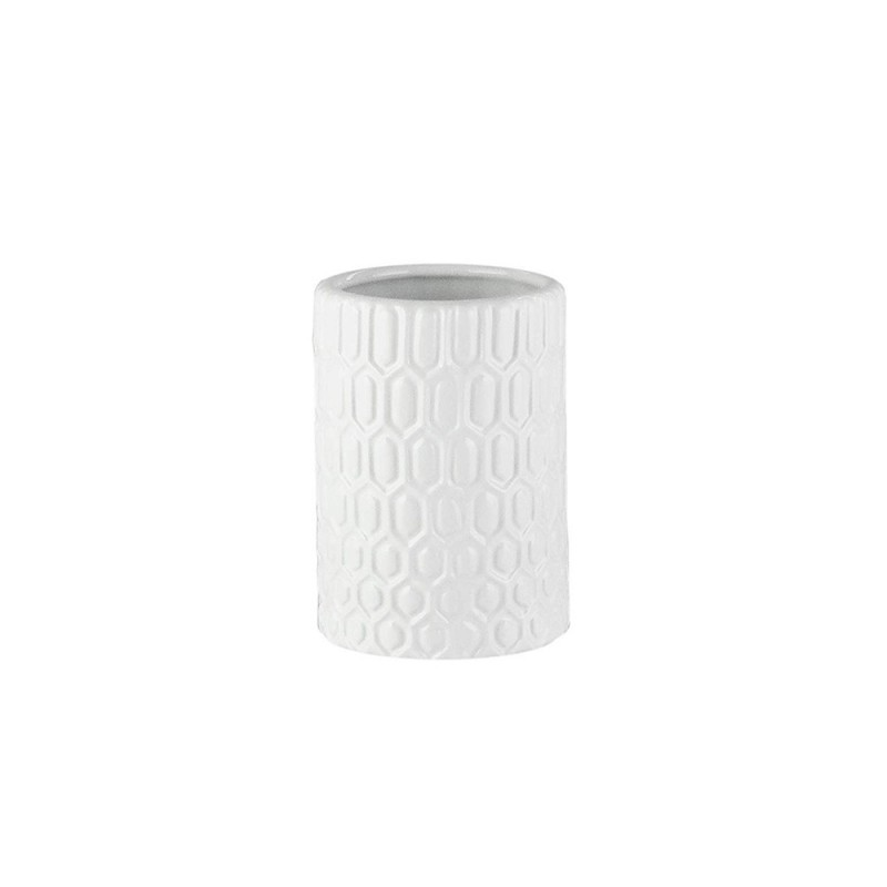 Elle Collection 1184584 Embossed White Ceramic Bathroom Tumbler