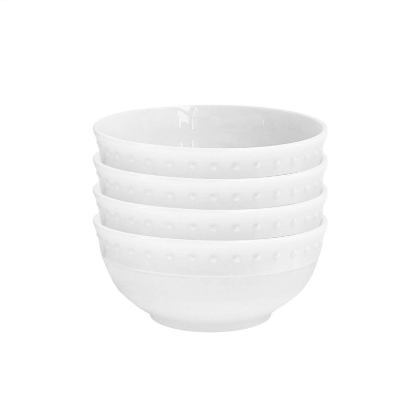 Elle Decor 6830-4BWL Monique Kitchen Bowls, White