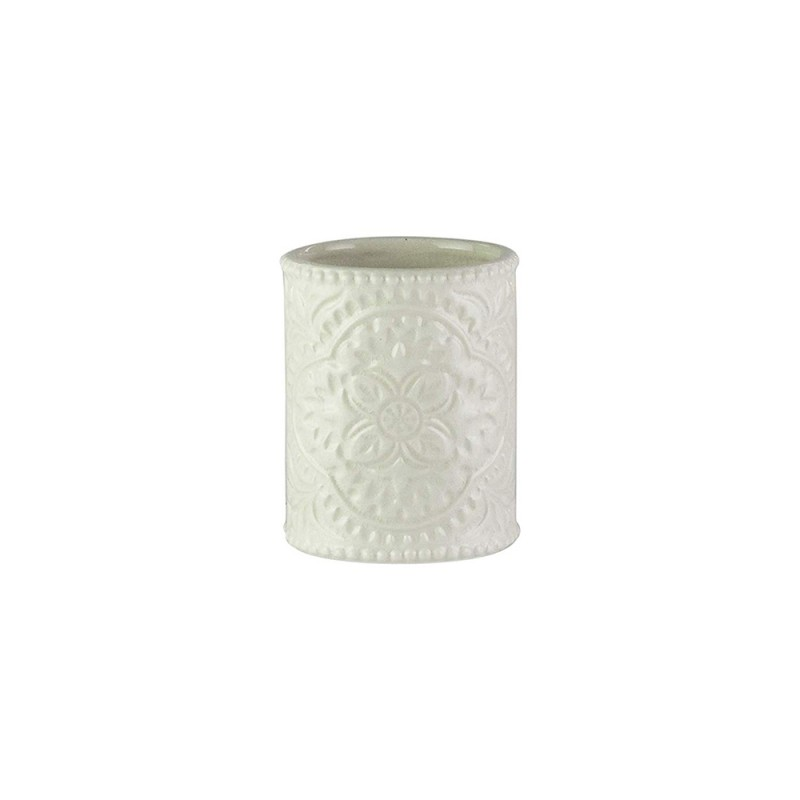American Atelier Bianca Cream Crackle Ceramic Bathroom Tumbler