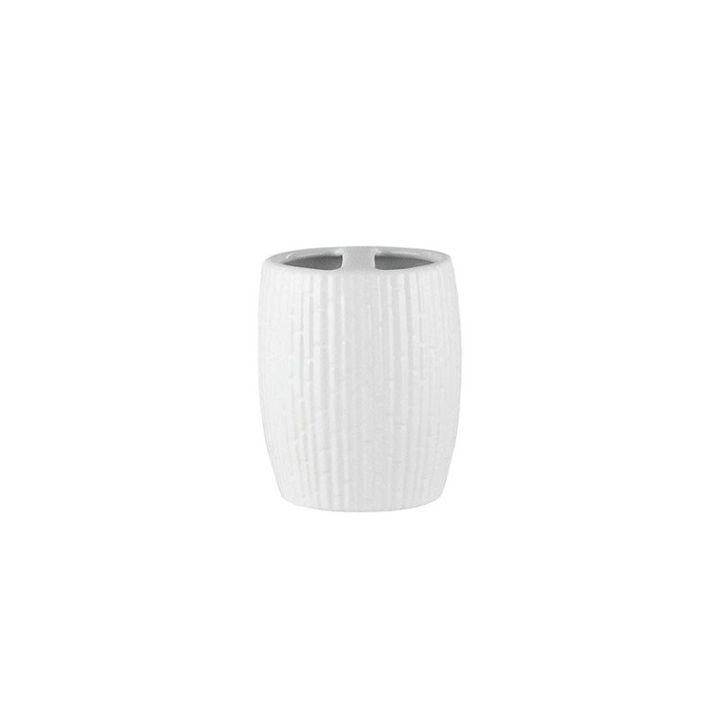 Elle Collection 1184588 Embossed White Ceramic Toothbrush Holder
