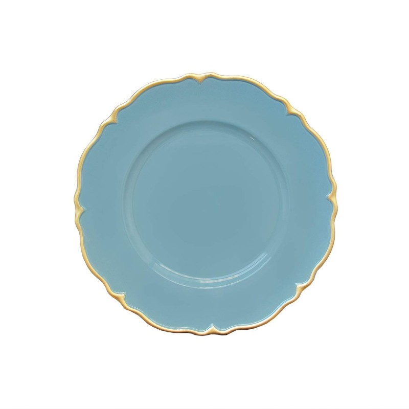 "Round Scallop Charger Plates 13"" Diameter, Set of 4 – BLUE/GOLD"