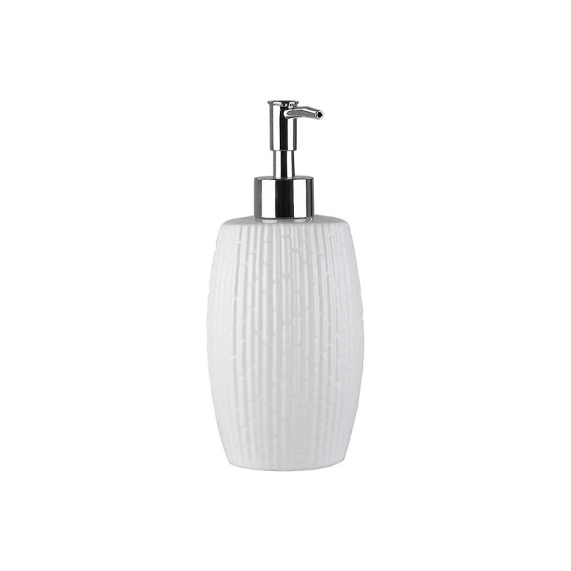 Elle Collection 1184587 Embossed White Ceramic Lotion/Soap Dispenser