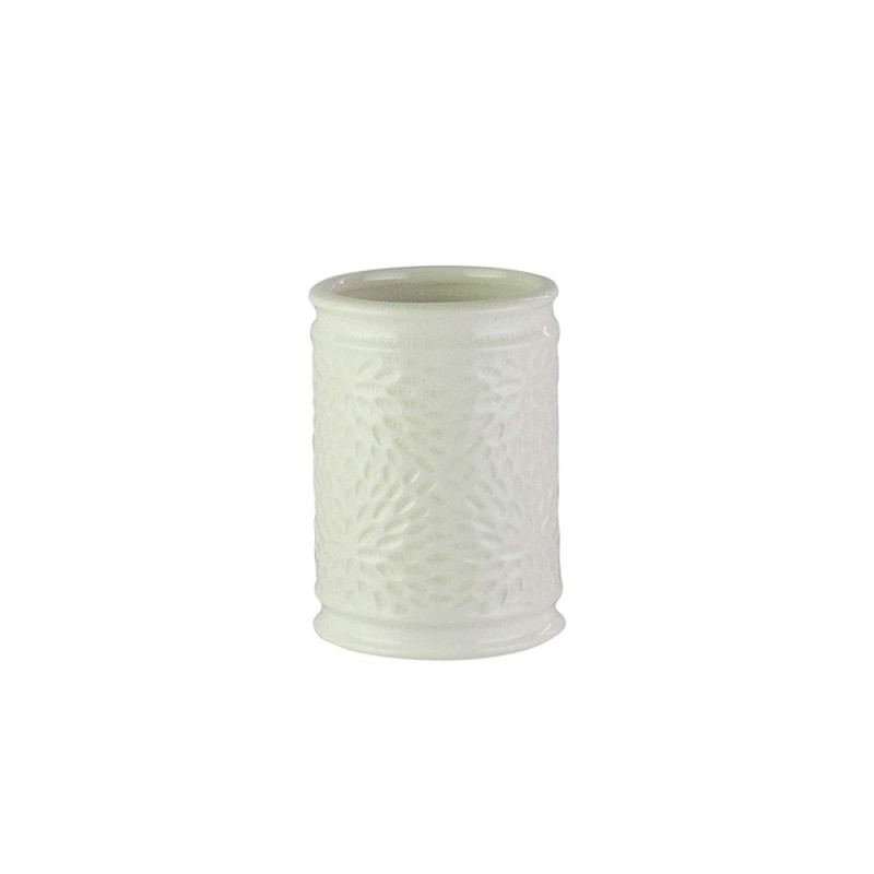American Atelier 1184599 Bianca Cream Crackle Ceramic Bathroom Tumbler