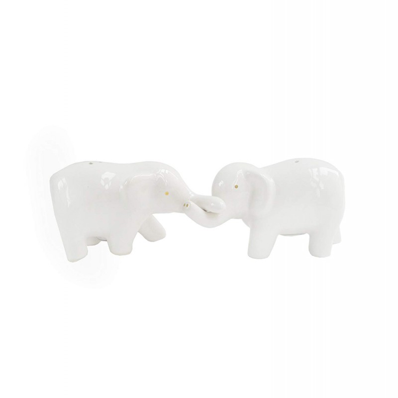 American Atelier Elephants Salt & Pepper Shakers-White/Gold