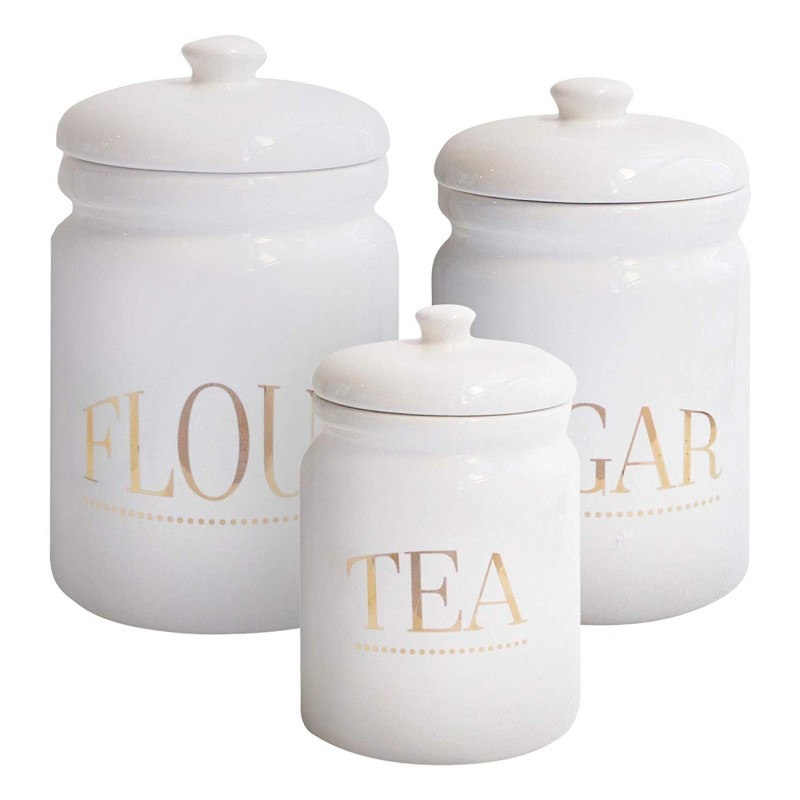 American Atelier Pantry 3Piece Canister Set-White/Gold