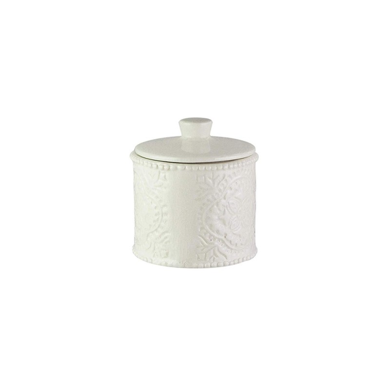 American Atelier Bianca Crackle Ceramic Cotton Ball Jar with Lid Cream