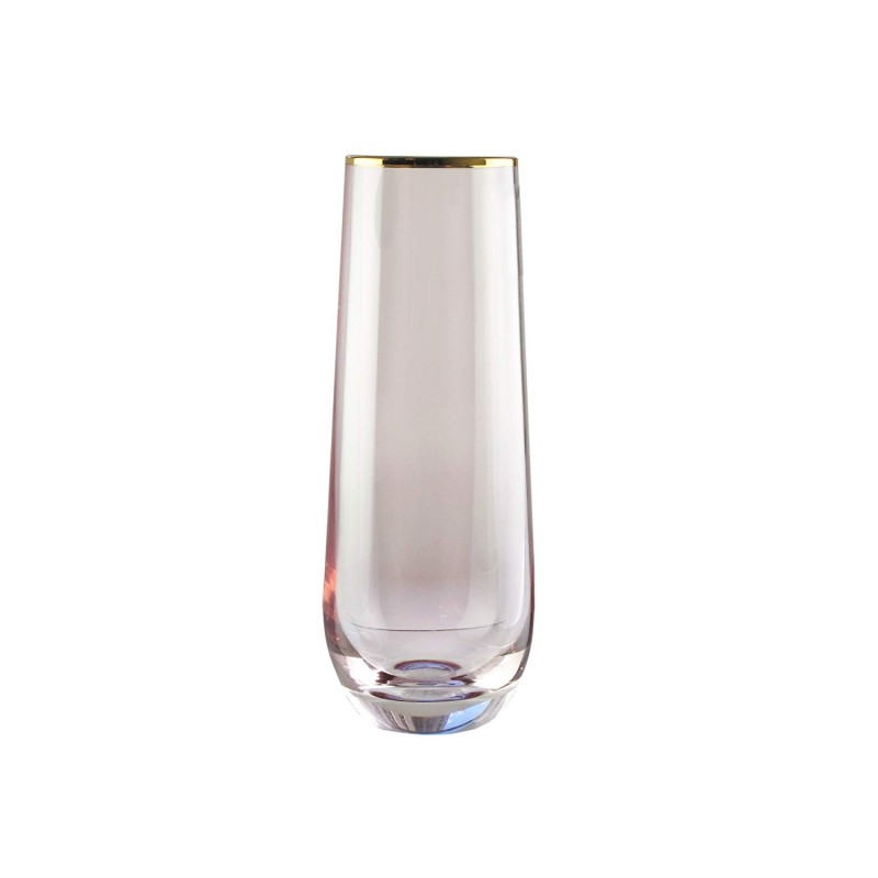 Fifth Avenue Crystal Vivienne Set of 4 Stemless Flutes-Rose/Gold