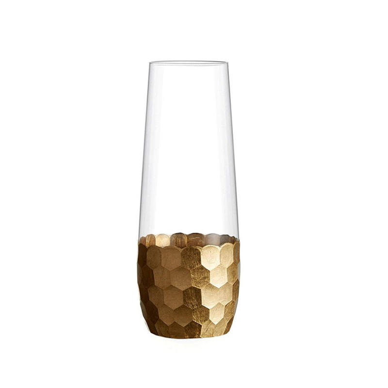 Fitz & Floyd 229705-4SFL Daphne Gold Set of 4 Stemless Glasses