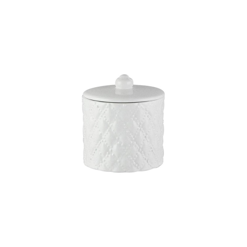 Elle Collection 1184581 Embossed White Ceramic Cotton Ball Jar with Lid