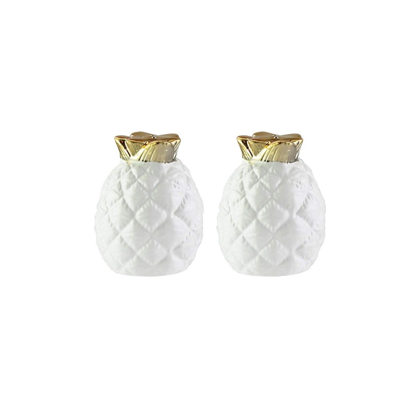 American Atelier Pineapple Salt & Pepper Shakers-White/Gold