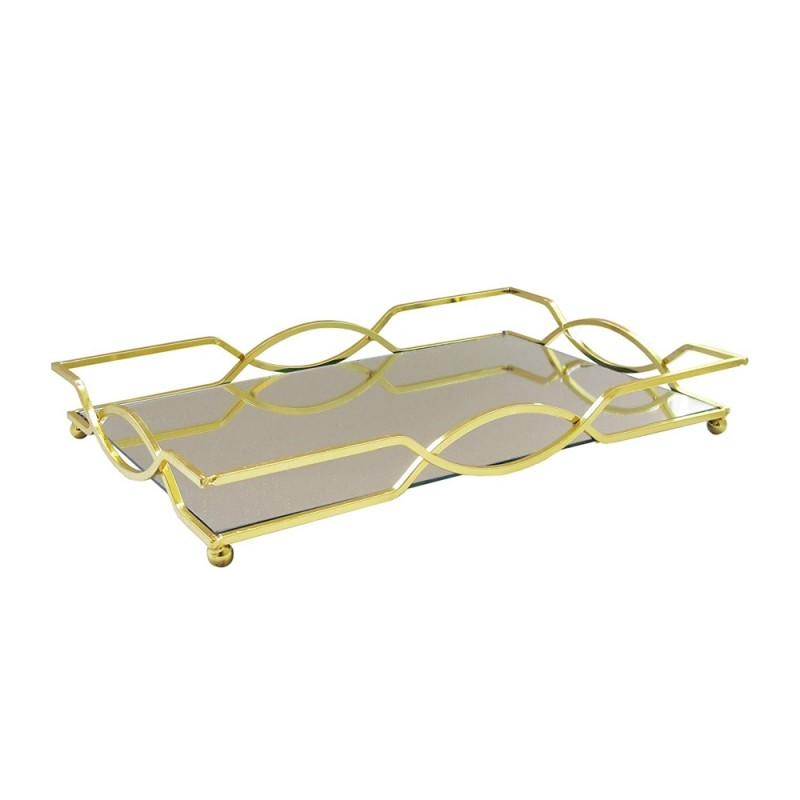 American Atelier 1330858 Geometric Electroplated Rectangle Mirror Decorative Tray with Metal Rim - Gold