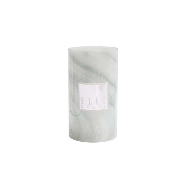 "Elle Decor 1135976GR Marble Round Pillar LED Candle 3 X 6"", Gray"