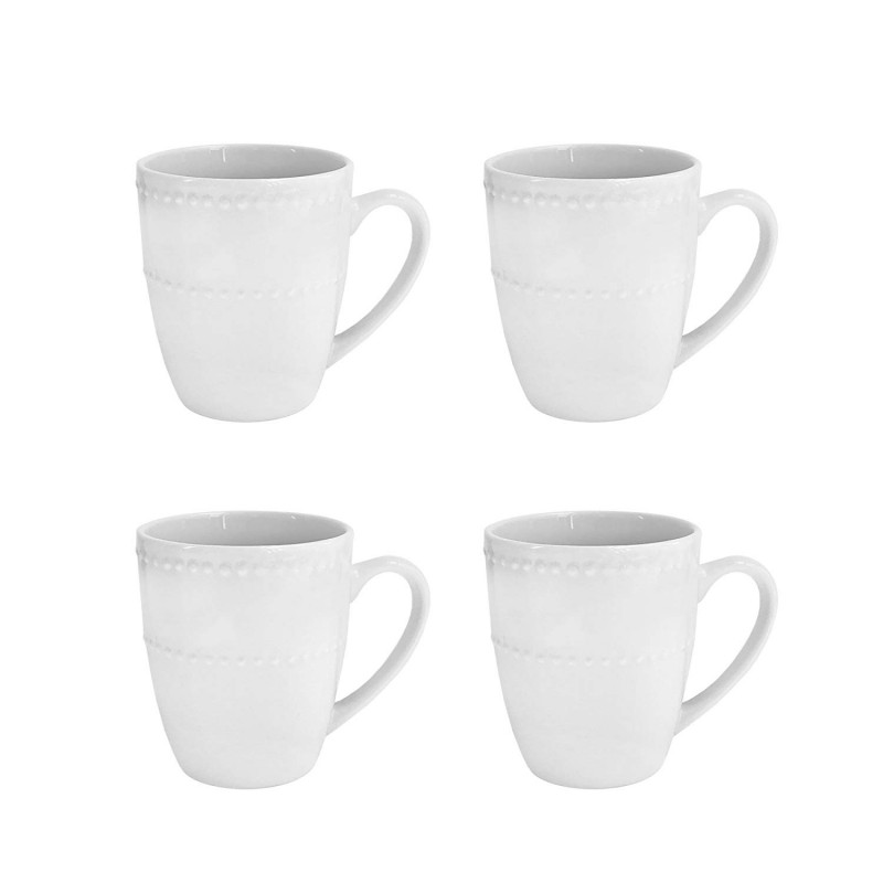 Elle Decor Monique Set of 4 White Mugs