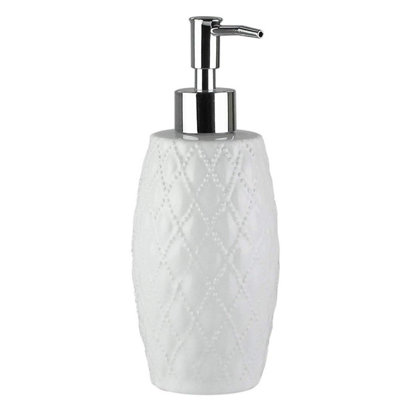 Elle Collection Embossed Ceramic Lotion/Soap Dispenser - White