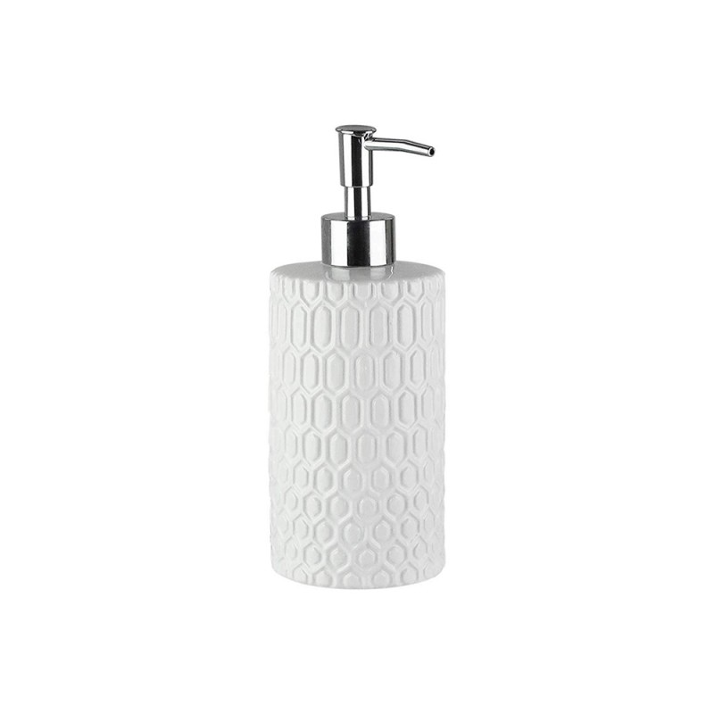 Elle Collection 1184582 Embossed White Ceramic Lotion/Soap Dispenser