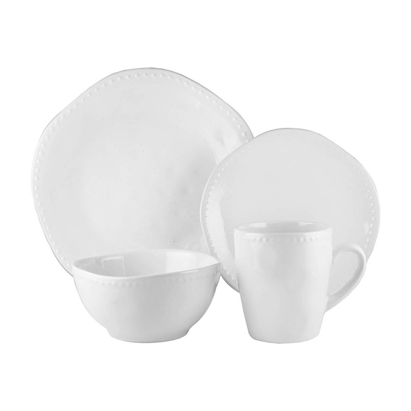 American Atelier 7222-16-RB Nadia 16 Piece Round Beaded Dinnerware Set - White