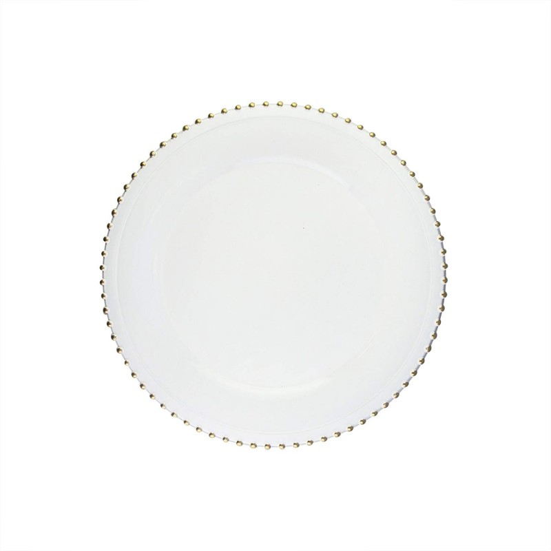 "Round Beaded Edge Charger Plates 13"" Diameter, Set of 4 – WHITE/GOLD"