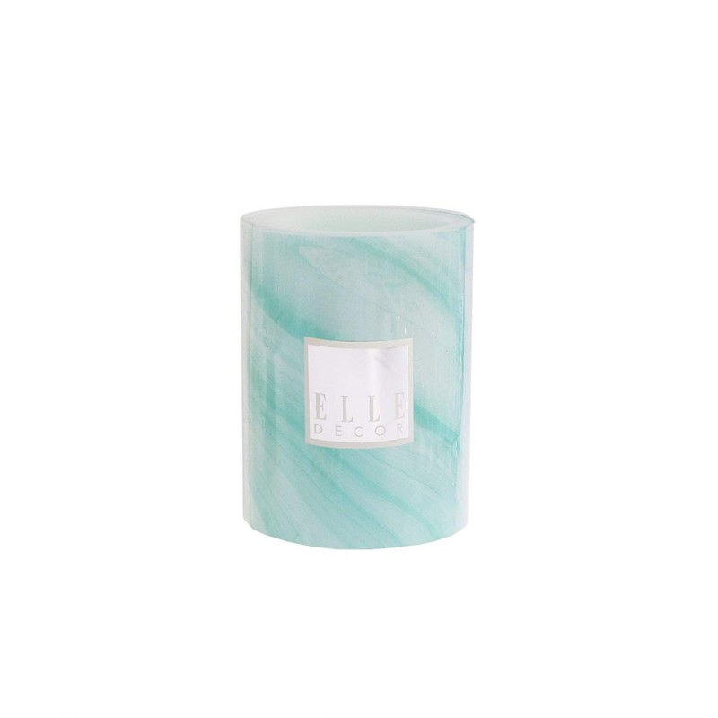 Elle Decor Marble Round Pillar LED Candle 3 x 4, Turquoise
