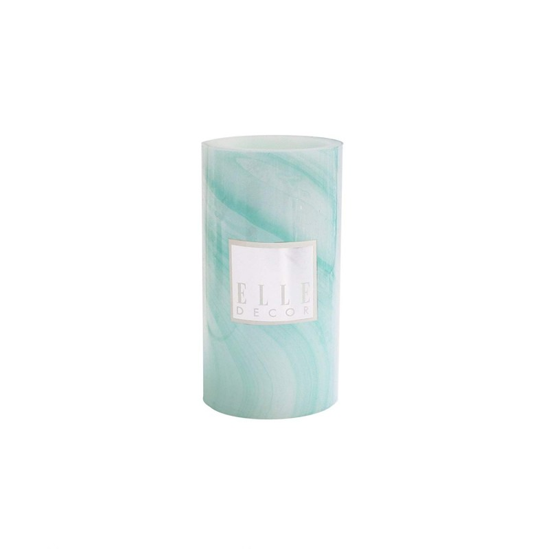 Elle Decor Marble Round Pillar LED Candle 3 x 6, Turquoise