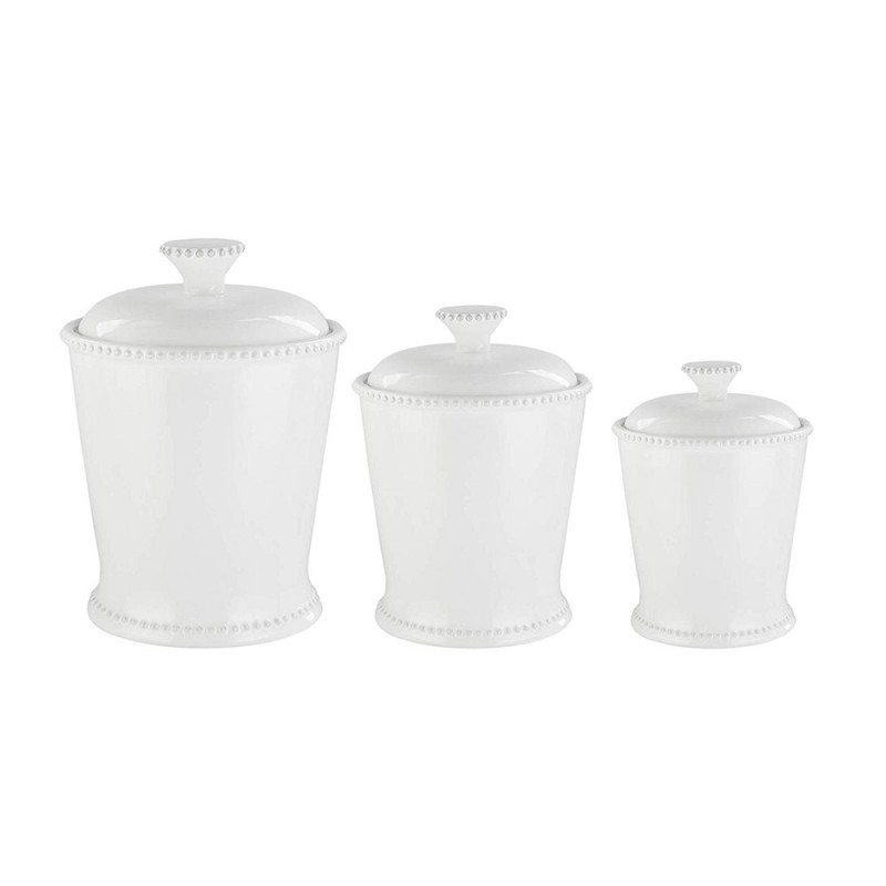 American Atelier Bianca White Scallop 3 Piece Ceramic Round Canister Set