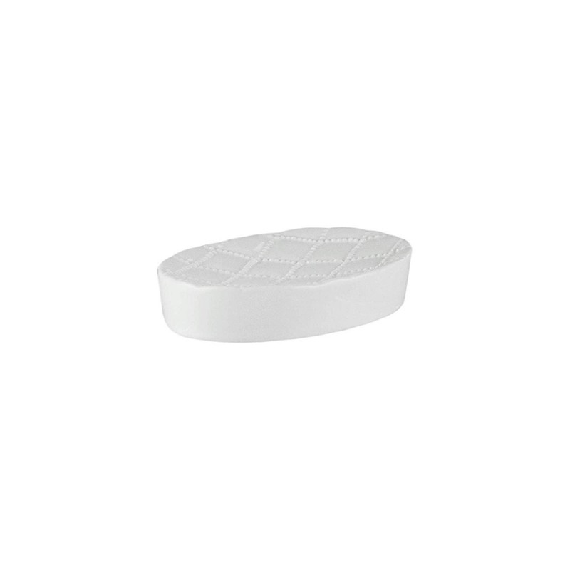 Elle Collection 1184580 Embossed White Ceramic Soap Dish