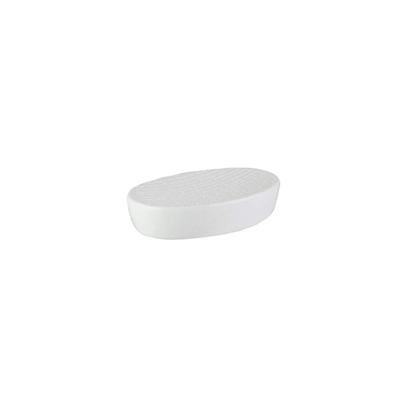 Elle Collection Embossed White Ceramic Soap Dish