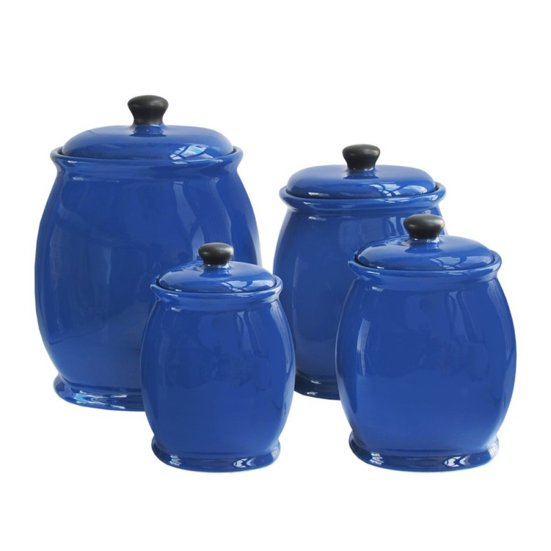 American Atelier Canister Set 3-Piece Ceramic Jars Chic Design With Lids for Cookies, Candy, Coffee, Flour, Sugar, Rice, Pasta, Cereal & More Blue