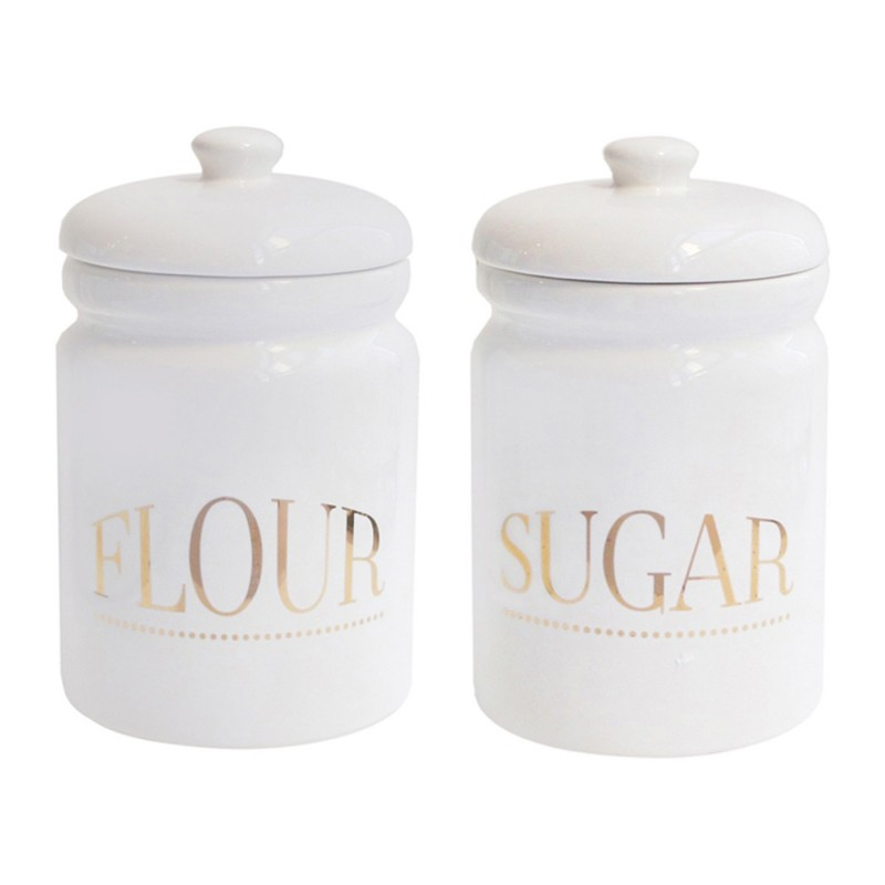 American Atelier Flour and Sugar Canister Set 2-Piece Ceramic Jars Chic Design With Lids for Cookies, Candy, Coffee, Flour, Sugar, Rice, Pasta, Cereal & More
