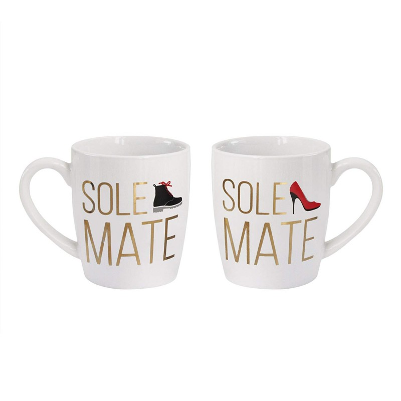 "American Atelier 1562339-2MJW Sole Mate Coffee Mug Set, 3.6"" x 2.5"" x 4"", White"