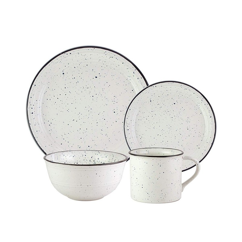 American Atelier 7329-16-RB White/Black Speckled 16 Piece Round Dinnerware Set