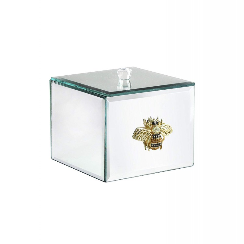 American Atelier Bumble Bee Brooch Cotton Ball Box, Silver