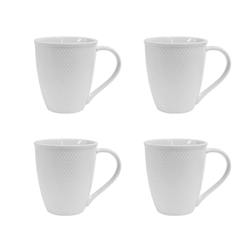 Elle Decor 6827-4M Chloe Set Coffee Mugs, White