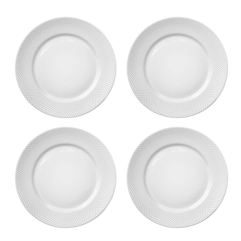 Elle Decor 6827-4D Chloe Set Dinner Plates, White