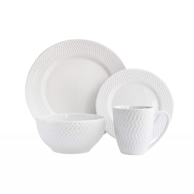 Elle Decor 6829-16-RB Dinnerware Set, White