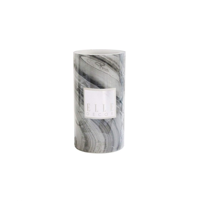 "Elle Decor 1135976BK Marble Round Pillar LED Candle 3 X 6"", Black"
