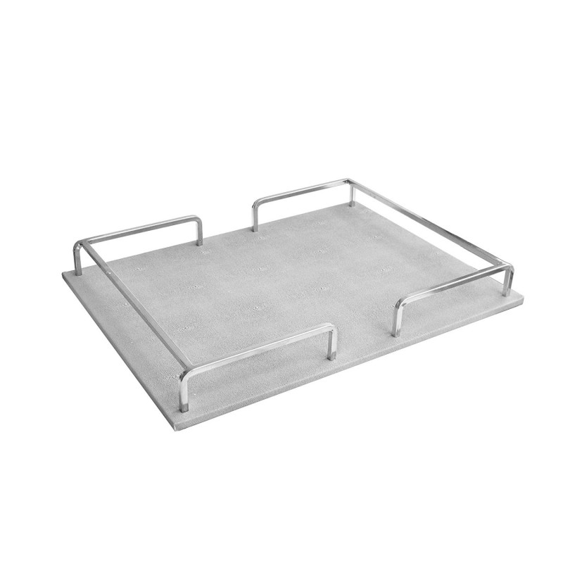 American Atelier 1330457 Shagrin Rail Tray, Silver/Silver, Rectangle