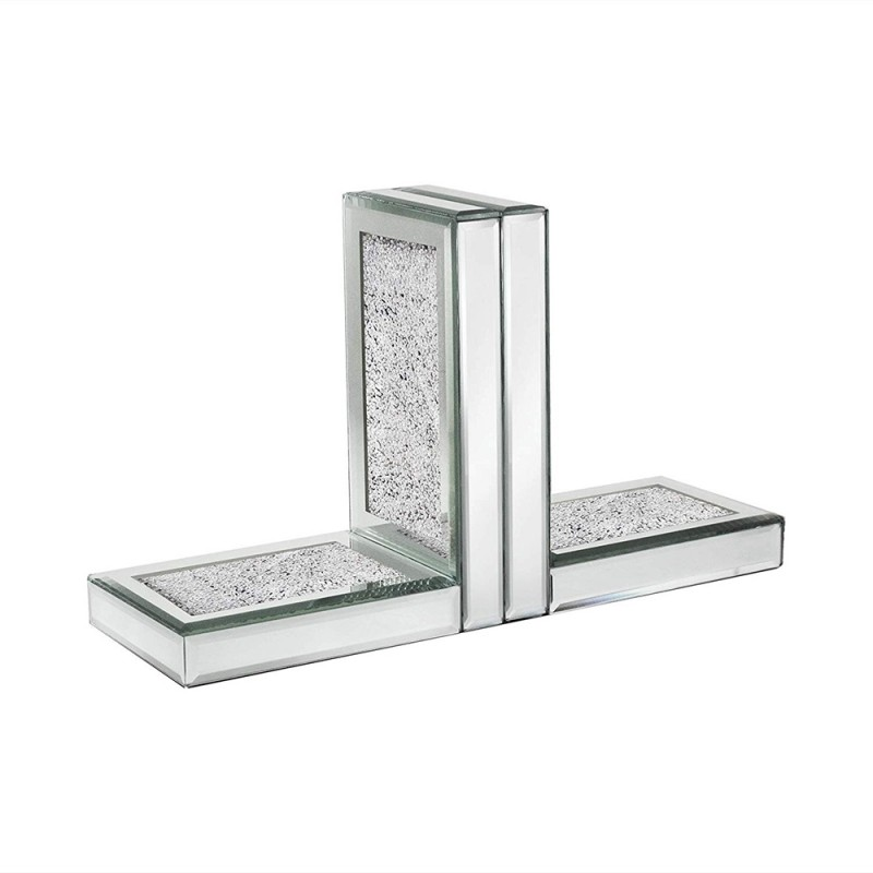 American Atelier White Crushed Mirror Set of 2 Bookends - Silver