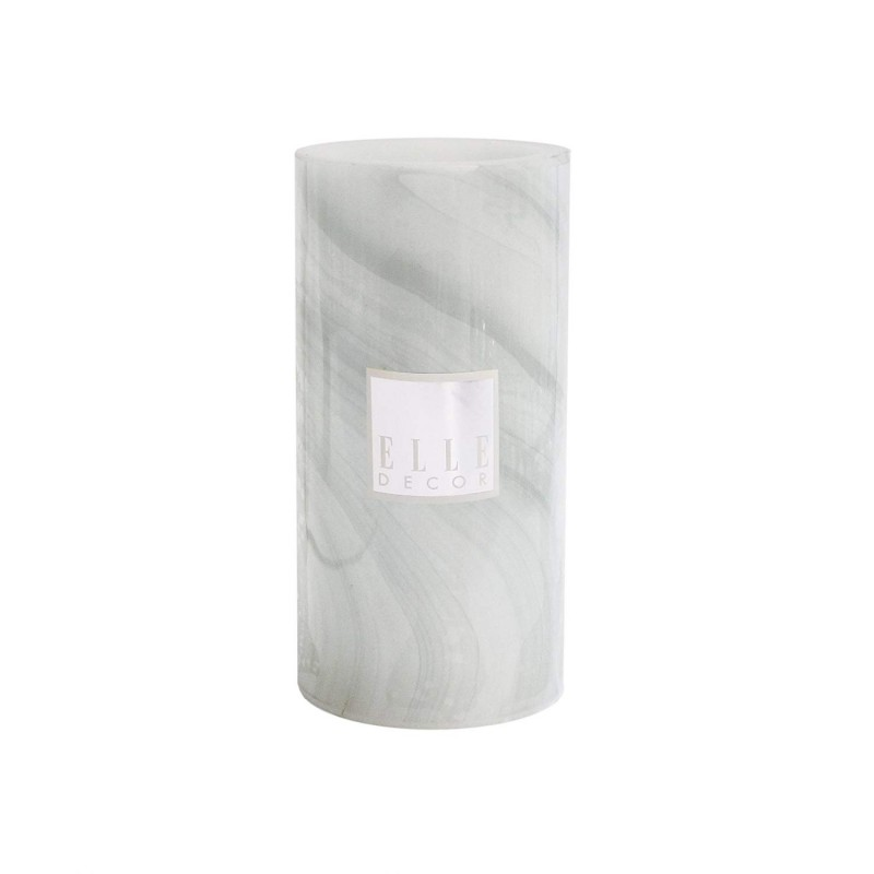 "Elle Decor Marble Round Pillar LED Candle 4 x 8"", Gray"