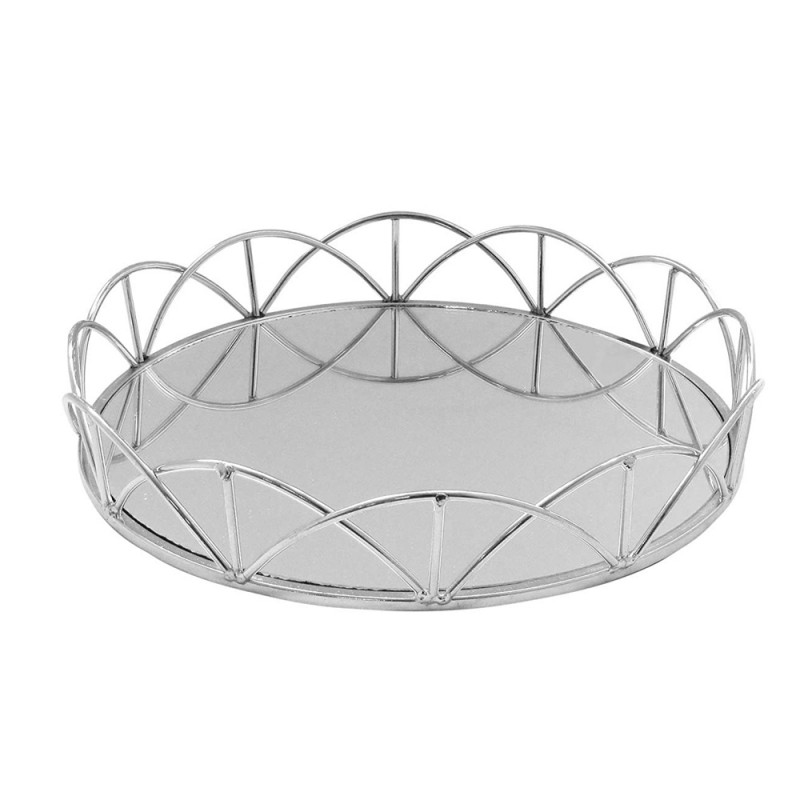 American Atelier 1330865 Lace Electroplated Round Mirror Decorative Tray with Metal Rim - Silver