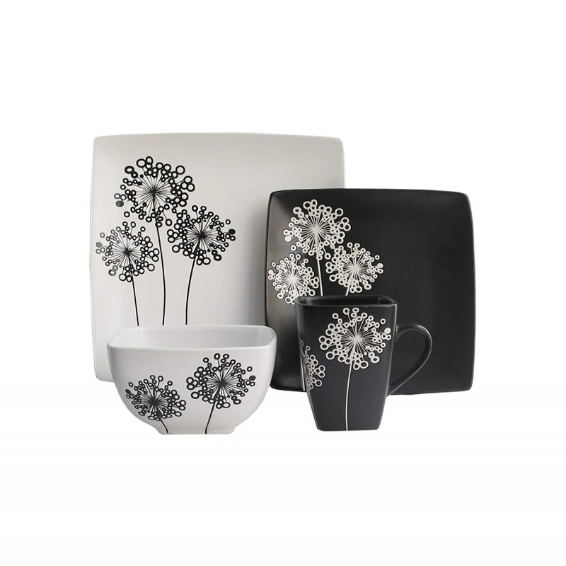 American Atelier Marisole 16 Piece Square Dinnerware Set-Black/White