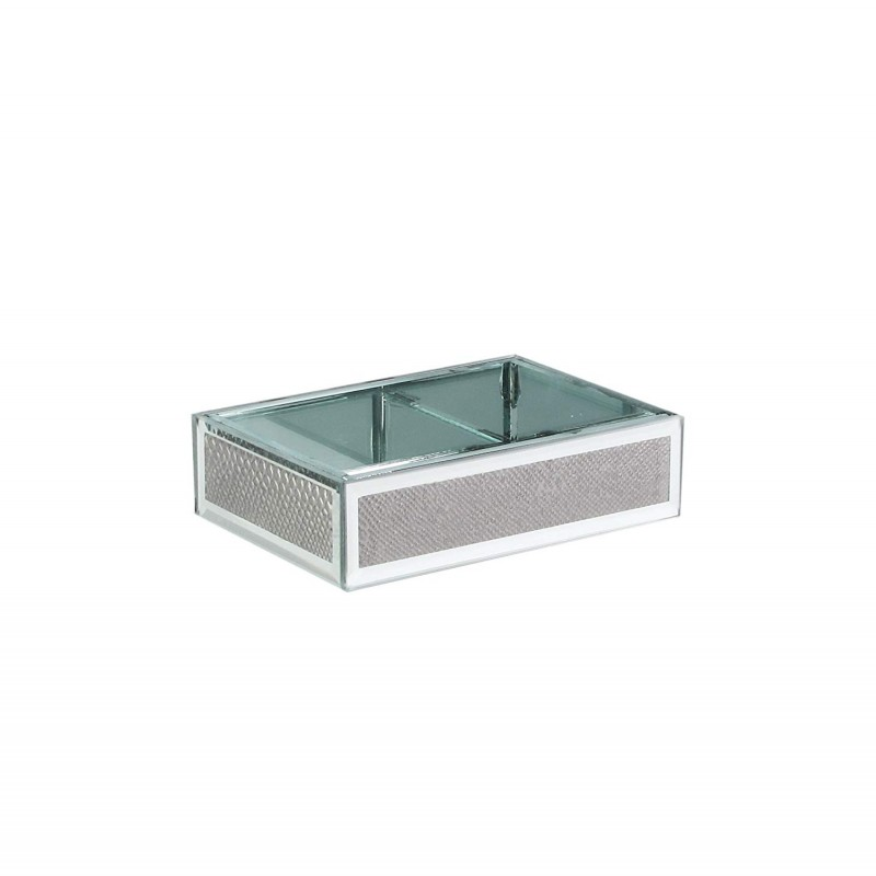 American Atelier Snake Skin Glass Soap Dish, Silver