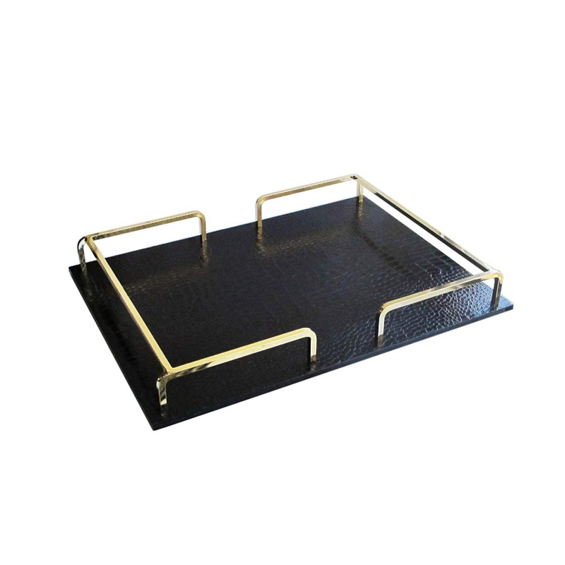 American Atelier Croc Rail Tray, Black/Gold, Rectangle