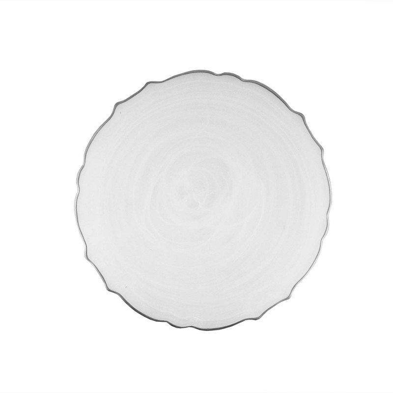 ChargeIt by Jay Alabaster Scallop White Glass Charger Plate with Silver Rim