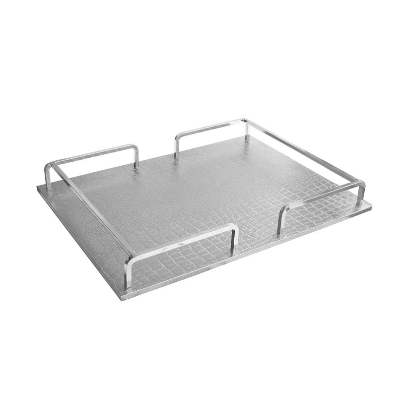 American Atelier 1330456 Croc Rail Tray, Silver/Silver, Rectangle