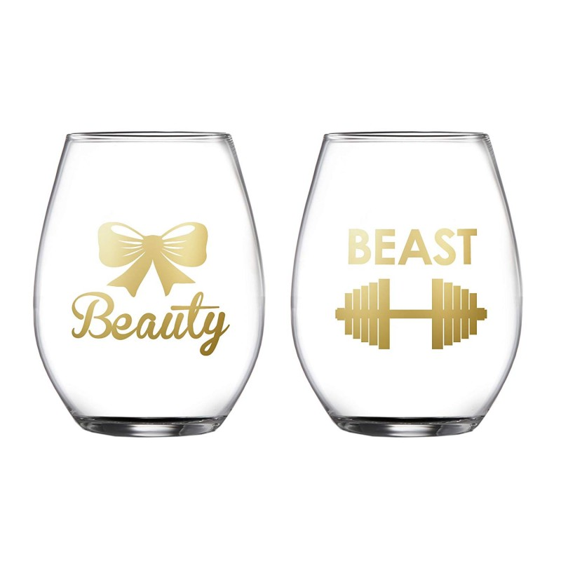 Fifth Avenue Crystal Beauty/Beast Set of 2 Stemless Goblets