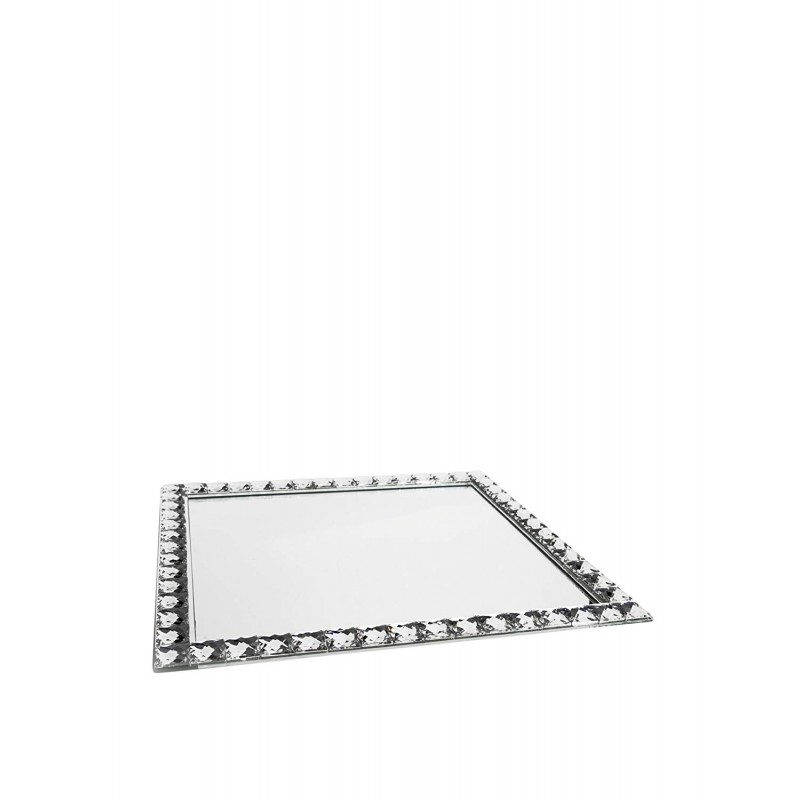 American Atelier 1332055 Jewel Accent Mirror Rectangle Tray/Wall Hanging, Clear