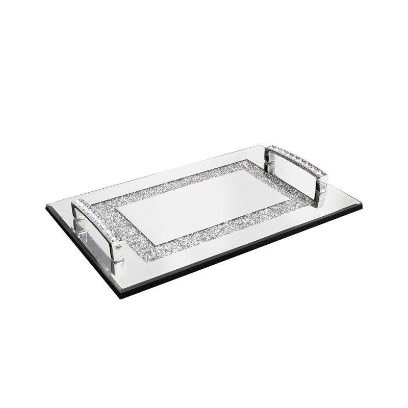 American Atelier Sparkle Mirror Tray with Handles-Small