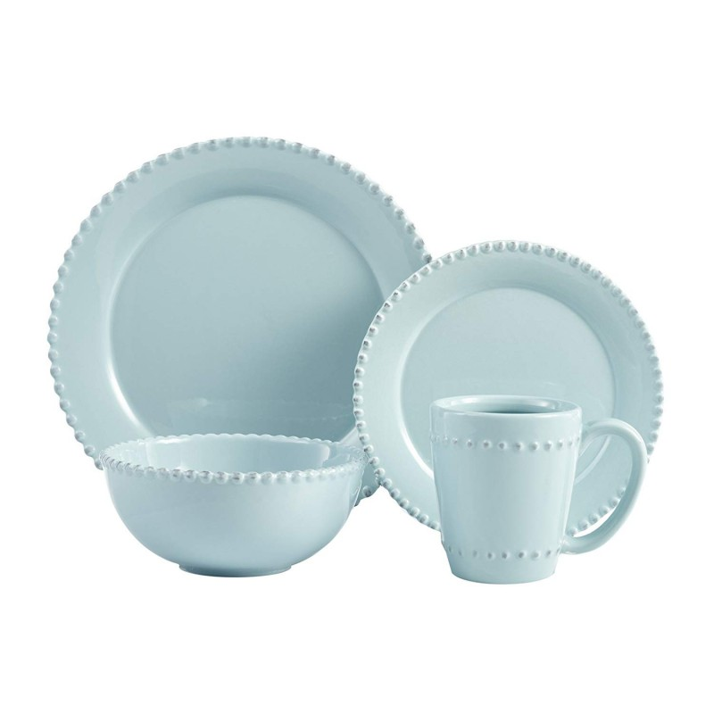 American Atelier Bianca Bead - Azul 16 Piece Dinner Set, Blue